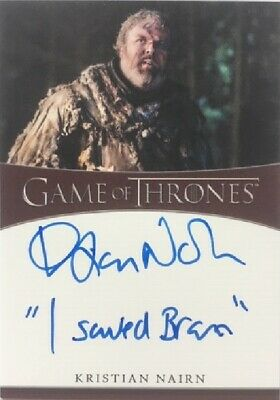 Kristian Nairn Inscription Autograph as Hodor, from Game of Thrones Season 8