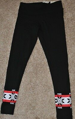 VICTORIA SECRET PINK NATION Yoga Cotton Leggings Pants XS S M Black Snowflakes