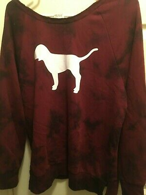 VICTORIA SECRET PINK Sweatshirt Pullover Top Cozy XS Dog Burgundy Tie Dye NEW