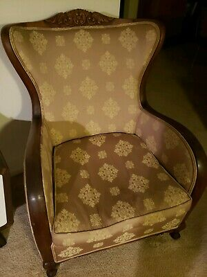 Antique Art Deco Style Walnut Carved Trim Upholstered Clubchairs(3)priced each