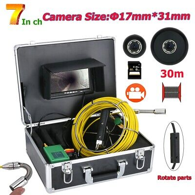"""30M 1000TVL 17MM Drain Pipe Inspection Video Camera with 7"""" DVR 8GB SD Card IP68"""