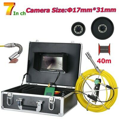 """40M 7""""TFT monitor 17mm Industrial Drain Pipe Sewer Inspection Video Camera IP68"""