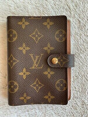 Authentic LOUIS VUITTON AGENDA PM Planner Cover Mono Brown Vintage