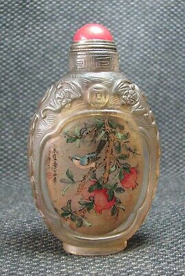 Chinese Glass Traditional Inside-drawing Thrush Design Snuff Bottle-----