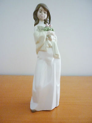 Vintage Nadal Porcelain Figurine Young Lady Holding Flowers Handmade In Spain