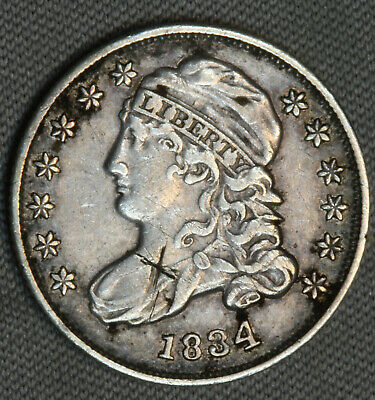 1834 10C Capped Bust Silver Dime XF + AU Details Early US Type Coin