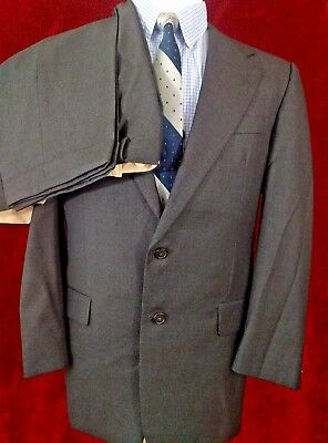 Hickey Freeman Suit 40R Mens 2 Button Loro Piana 36x31 Pleated Front Wool Gray