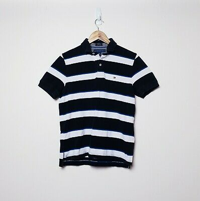 Tommy Hilfiger Mens Size S Blue Navy White Striped Polo Shirt