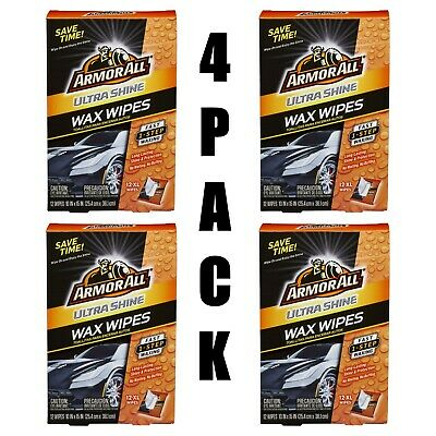 Lot of (4) Armor All Ultra Shine Wax Wipes, 12 count, Car Wax Wipes