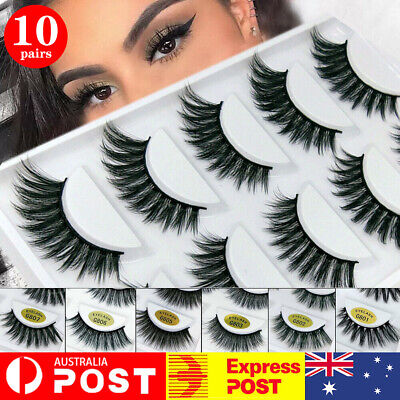 3D Luxurious Real Mink Natural Cross Long Thick Eye Lashes False Eyelashes STOCK
