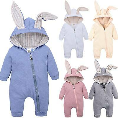 Easter Baby Kid Girls Romper Bunny Ear Jumpsuit Costumes Zip Up Pajamas Outfits