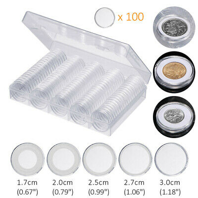 17-30mm 5 Sizes Coins Display Storage Box Case Collectible Coin + 100 Capsules