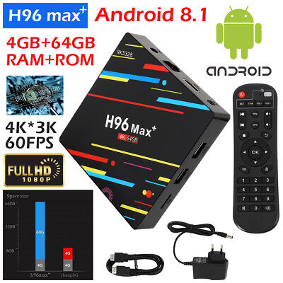 Smart TV BOX H96 MAX+ Android 8.1 Mini PC Quad Core WiFi 4Gb 32/64GB 4K 1080P BM