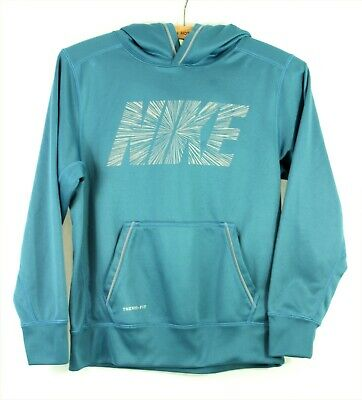 Nike Girls Therma-Fit Blue Long Sleeve Sports Lightweight Hoodie 10-12 Years M