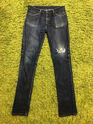 Levis 510 Jeans Size 34x34 Super Skinny Ripped Distressed Denim Dark Wash