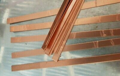 Copper flat strip 10mm by 0.55 mm x 15 cm plastic peelaway mirror side  99.99%