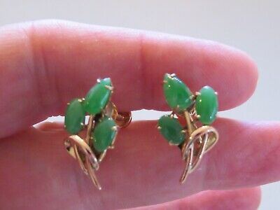 Old  Vintage Chinese 14K Gold & Jadeite Jade Earrings With Box ----- No Reserve