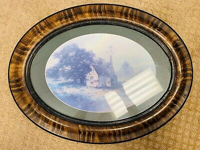 Antique Tiger Stripe Frame Hand painted Oval Frame With Nice Matted Print
