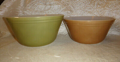 Vintage Federal Glass Mixing Nesting Bowls Heat Proof Set of 2 Green and Brown