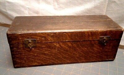 Antique Tiger Oak Pharmacy Laboratory Optical Box Original Finish and Hardware