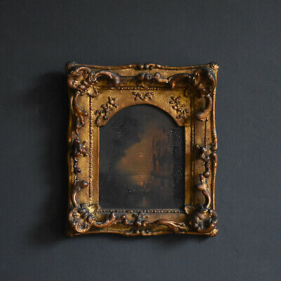 The Serenade Small Venetian Oil on Board, Early 19th Century - Original Antique