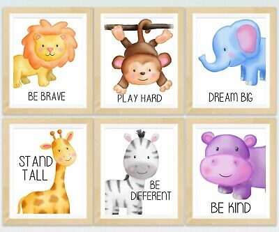 6 x  A4 Nursery/Baby/Kids Safari Animal Wall Prints Gift Elephant Hippo Zebra