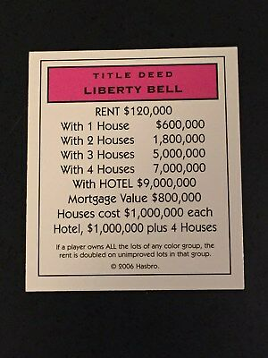 MONOPOLY HERE AND NOW EDITION Part PINK TITLE DEED CARDS Property Liberty Bell