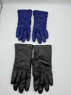 2x Bloomingdales Leather Sz 6 1/2Cashmere Lined NWT Soft Gloves Italian