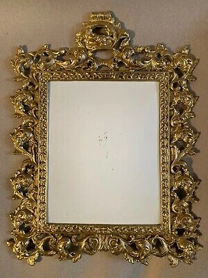 Antique Large Victorian French Rococo Brass Gold Gilt Bronze Pic. Frame Ornate