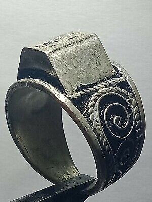 Ancient Medieval Roman Silvered Ring Musueum Quality Artifact