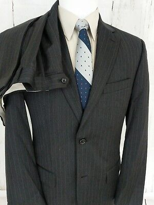 Jones New York 38R Mens Suit 2 Button 34x30 Pleated Front Pinstripe Gray Wool