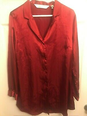 Victoria Secret Sleep Shirt Blouse Buttons Pajama Top Satin M Lounge Red Gown