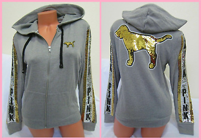 VICTORIA/'S SECRET PINK Full Zip BLING GOLD SILVER SEQUIN PERFECT HOODIE S M L