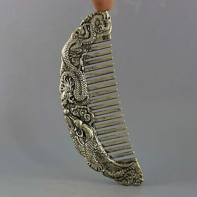 Collect China Old Miao Silver Hand-Carved Myth Dragon & Phenix Auspicious Comb