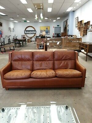 Mid Century Modern Moran Cigar Leather 3 Seat Couch Sofa Lounge