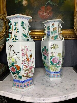 A Lovely Chinese Handpainted Hexagonal Vase Urns - a Pair