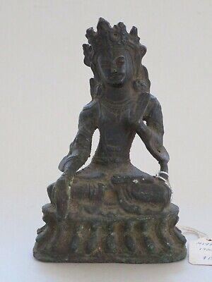 Antique Chinese Or Tibetan Bronze Buddha 19Th Century Or Earlier -- No Reserve