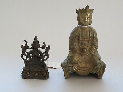 2 Antique Chinese Or Tibetan Bronze Buddhas 19Th Century Or Earlier - No Reserve