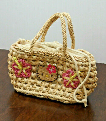 "VTG 2001 Hello Kitty STRAW/RAFFIA ""Hawaiian"" Handbag w/Lining by Sanrio PREOWN"