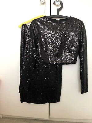 Missguided Co Ord Top And Skirt Size 8 Black Sequins