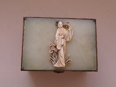 Antique Chinese Jade & Enameled Metal Box With Carved Figure -------- No Reserve