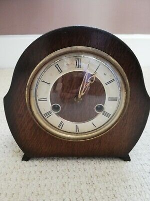 Vintage 50s Wooden Case Smiths Enfield Mantel Clock. Spares & Repairs With Key