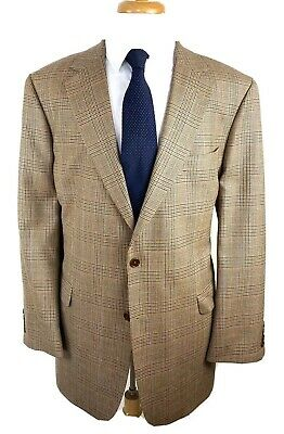 BROOKS BROTHERS 346 Brown Houndstooth Two Button Wool Blazer Size 46 L