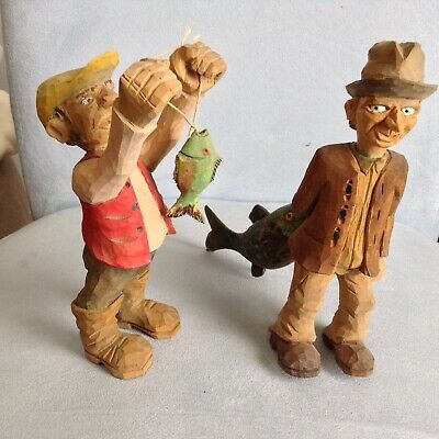 Vintage Folk Art (2) Wood Hand Carved Fisherman Figurines Hand Painted 6.75 inch
