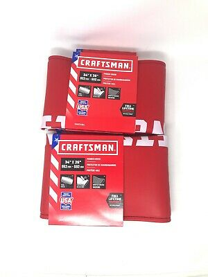 """Lot of 2 CRAFTSMAN Red Fender Cover 34"""" x 26"""" Made in the USA"""