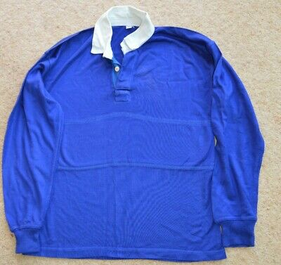 """School Sport Royal Blue long sleeved PE Top 32"""" with white collar"""