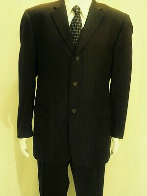 Burberry London~Ec!!~Men's 42R Brown Pinstriped Wool Suit Pleated/Cuffed 34X31
