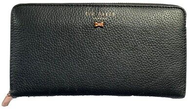 Ted Baker Zip Purse Wallet Black Leather Pink Rose Gold - Hardly Used