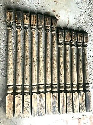 12 Antique Shabby Oak Wood Stair Staircase Porch Railing Balusters Spindles