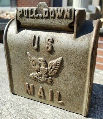 Antique Vintage Cast Iron US Mail Box Bank w/Embossed Eagle